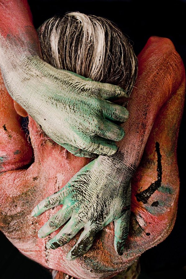 Painted Woman Hands on Back