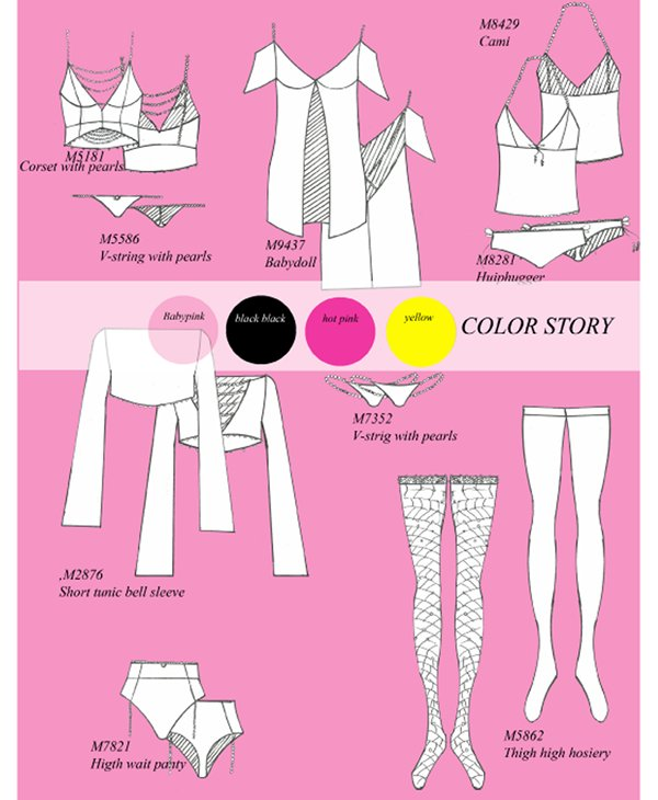 Pink and White Fashion Sketches