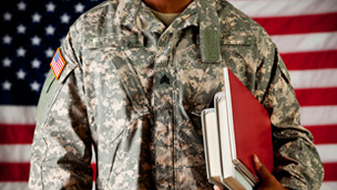 Military student holding books