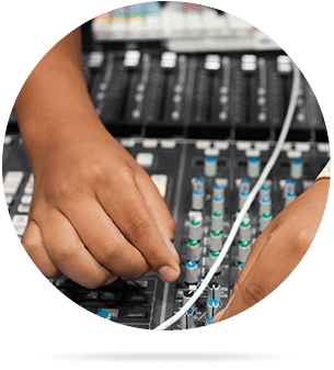Audio Production student working on board