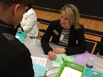 The Brown Mackie College - Merrillville Career Services team recently volunteered their time at the Crossroads Regional Chamber of Commerce Reality Store held at Pierce Middle School in Merrillville, Indiana.
